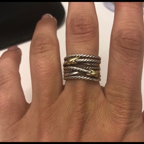 92b0aaeb3 David Yurman Accessories   Double X Crossover Ring With 18k Gold ...
